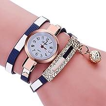 vovotrade Moda encanto de las mujeres abrigo alrededor de cuero artificial de cuarzo reloj de pulsera (Azul)
