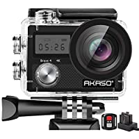 AKASO Brave 4 4K WiFi Action Camera 20MP Ultra HD with EIS 30m Underwater Waterproof Camera Remote Control 5X Zoom Video Camcorder with 2 Batteries and Accessories Kit