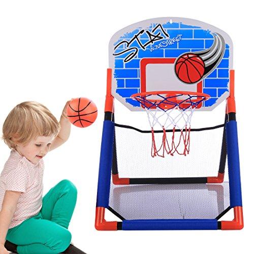Forweilai Canestro da Basket Canestro da pallacanestro per i bambini multifunzionale di pallacanestro Rack Indoor Outdoor Toys Set per età 3-15