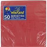 Serviette unie - 33 x 33 cm - Rouge - Vendu par 50