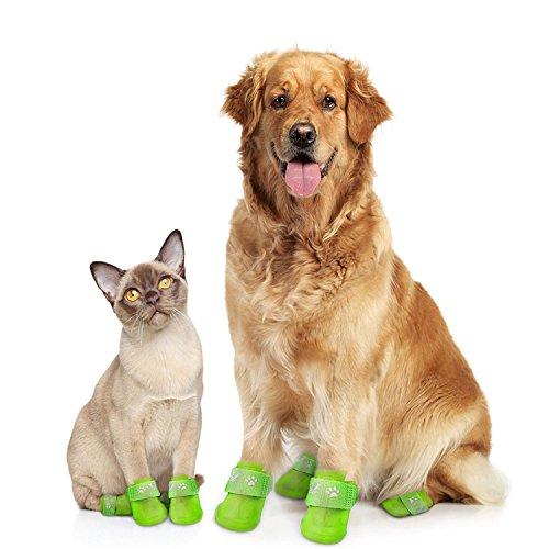 XiYunHan Pet Regen Stiefel, Wasserdichte Schuhe Anti-Rutsch-Design Schöne Hund Katze Schuhe Puppy Gummistiefel Mini-Hund Weich-PVC 4PCS / Set Pet Outdoor Schuhe Größe S/M / L/XL (Size : S)