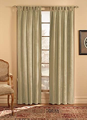 CHF & You Ultra Suede Tab Top Window Curtain Panel, Beige, 50-Inch X 84-Inch by CHMJE