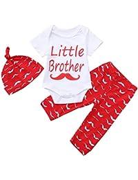 ☀☀Pantalones para Bebés Niña,3pcs Bebé Carta De La Impresión del Mameluco del Mono + Pantalones De Impresión De La Barba + Conjunto del Sombrero del Equipo