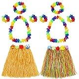 Hula Gras Rock mit Blumen Leis Kostüm Set, Elastisches Luau Grass und Hawaiian Blume Armbänder, Stirnband, Halskette für Party Favors, 2 Set