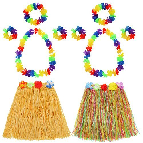 Kostüm Set Rock - Hula Gras Rock mit Blumen Leis Kostüm Set, Elastisches Luau Grass und Hawaiian Blume Armbänder, Stirnband, Halskette für Party Favors, 2 Set