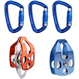 Heavy Duty Rock Climbing Kit - 32KN Double Pulley Sheave, 32KN Single Pulley, 3Pcs 24KN Auto Lock D Shape Carabiner