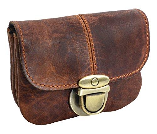 Monedero de Cuero Gusti Leder Chapal Bolsillo para Cinturón Bolso para Festival Fiesta Cuero de Buey Marrón 2G40-48-2