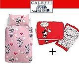 Caleffi Disney Completo Copripiumino Una Piazza Minnie Love + Set Americano Mickey