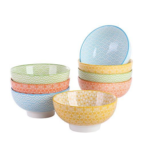 vancasso Natsuki Cuenco de Porcelana de 8 Piezas, Cuencos de Arroz Ø 15.2 cm, Tazones y Cuencos de Postre, Ensalada, Sopa