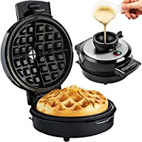 Andrew James Volcano Belgian Waffle Maker Iron - Electric 700W Machine with a Unique Easy Pour No Mess Funnel for Perfect Round Breakfast Waffles - Exclusive Award Winning Design!