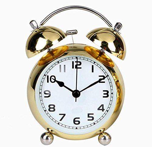 Einfacher Retro-Wecker Licht Silent Schlummer Sweep Sekundenzeiger Schlafzimmer Studie Nachttisch Uhrwerks ,Gold