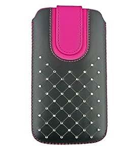Emartbuy® PU Leather Slide in Pouch Cover Sleeve Holder For Nokia Nokia 8 Smartphone ( Size LM4 _Black/Hot Pink Gem Studded )