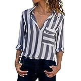 FORH Damen Bluse Mode V-Ausschnitt Langarm Casual Shirts Tunika Frauen Gestreiften Tops Streifen Button Lose OberteileFür Herbst & Frühling
