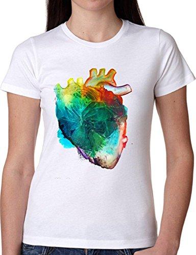 T SHIRT JODE GIRL GGG22 Z1615 COLORFUL HEART RAINBOW ANATOMY LIFESTYLE FASHION COOL BIANCA - WHITE