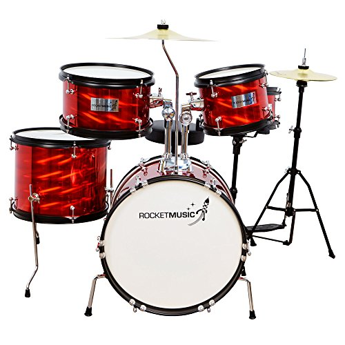 Rocket Music DKJ02RD Junior-Schlagzeug (5-teiliges) rot