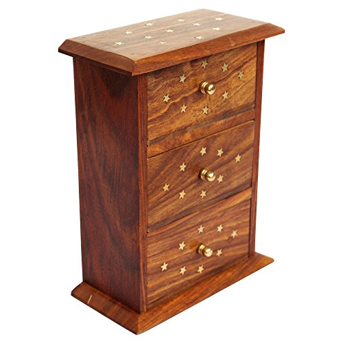 ITOS365 Handmade Wooden Jewellery Box for Women Jewel Organizer with Small Drawer