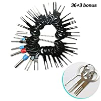 39pcs Pins Terminals Removal Tools, Auto Terminals Removal Key Tool for Car Auto Wire Connector Terminal Pin Extractors Puller Remover Repair Key Tools Set Terminal