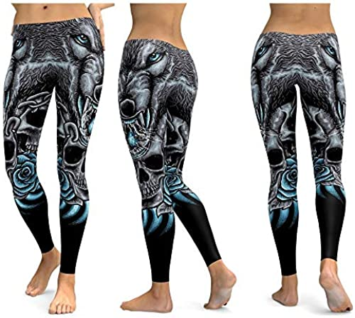 FBYYJK Yogahosen Yoga Pants Skull Leggings Yoga Hosen Damen Sport Hosen Fitness Running Push Up Fitnessstudio...