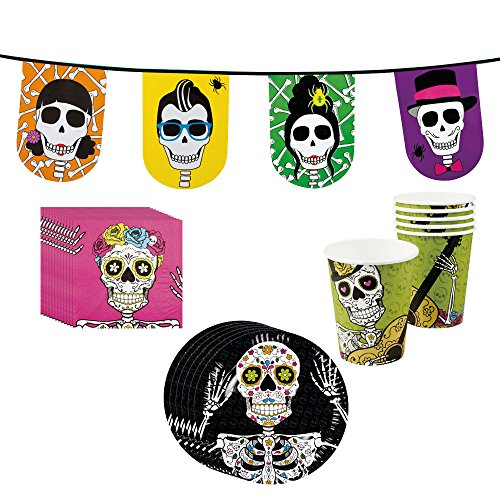 COM-FOUR® Halloween Partygeschirr und Dekoration, Totenkopf / Skull, Dia de los Muertos Partybox