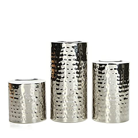 Hosley Nickle Pillar Candle Holder SILVER FINISH. Nickle Ideal GIFT DECOR Wedding, Party, Home, SPA, Aromatherapy, Reiki, Votive, Tea Light, Candle garden