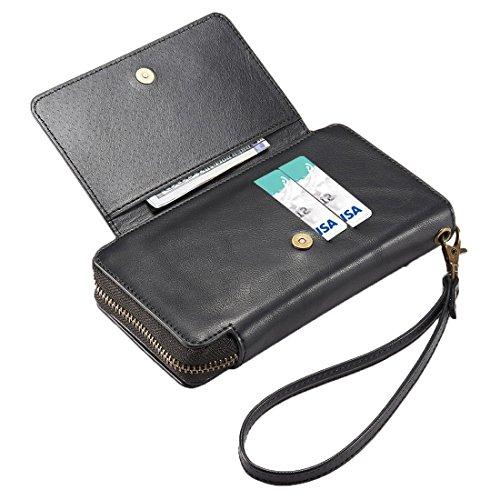 xhorizon TM PU Cuir de Haute Qualité Housse Protectrice Détachable Magnétique Séparable Amovible Portefeuille Porte-sac Fermeture à la Glissière Pochette de Cash avec Compartiment de Carte d'Identité  Noir
