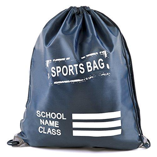 Kinder Uni Kordelzug Sport Gym Pumpe Rucksuck PE-Tüte Navy