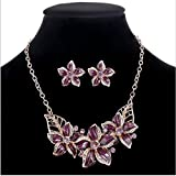 Maroon Enamel Crystal Imitation Flower Necklace