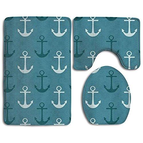 RedBeans Nautisches Muster Navy Blau und Blaugrün Dusche Bad Teppich Set beinhaltet Contour Teppich Deckel WC-Deckelbezug Badteppich