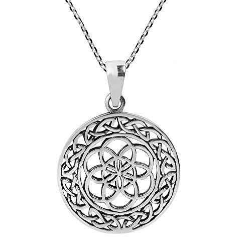 Seed Of Life Die sieben tagen Celtic 925Sterling Silber Halskette