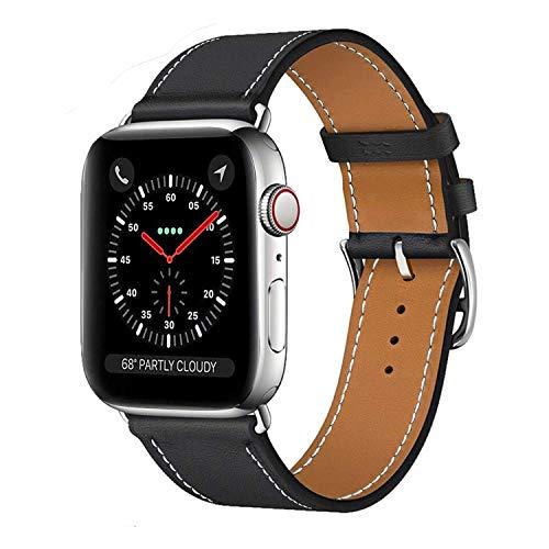 MroTech kompatibel mit Lederarmband 42mm Armband 44mm Leder Watch Band Echtes Leder Uhrenarmband Ersatzband für Smartwatch Serie 4 Serie 3 Serie 2 Serie 1 (Schwarz, 42/44 mm)