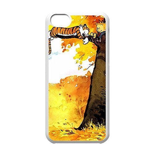 Classical Style Case with Calvin and Hobbes Lightweight Plastic Protective Back Cover for iPhone 5C -White031304