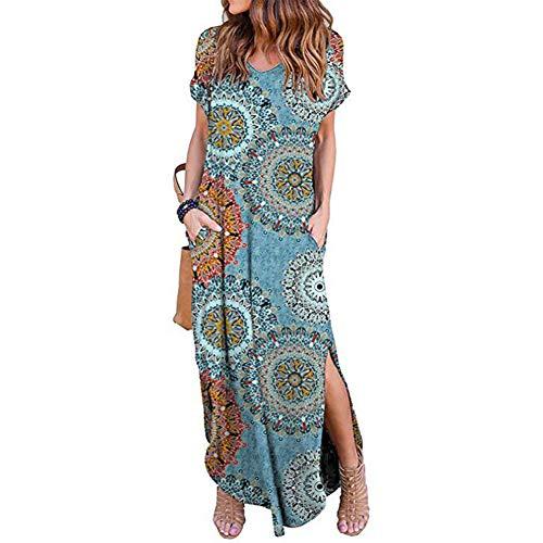 Frauen Casual Floral V-Ausschnitt Kurzarm Kleid Backless Pocket Summer Beach Maxi-Kleid(L,Sun Blue) Blue Floral Sun-kleid