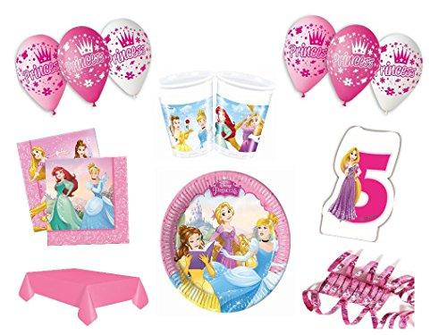 XXL Party Deko Set 5.Geburtstag Disney Princess pink Kindergeburtstag für 8 Personen rosa Mädchen Party Deko Geschirr