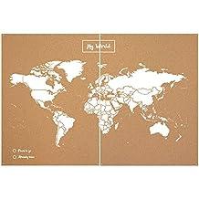 Miss Wood Map XXL - Mapa del mundo de corcho, color blanco