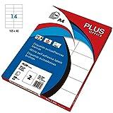 Plus Office 10679–Rechteckige Klebeetiketten, 1400TSI/Box Etiketten, 105x 41mm, weiß