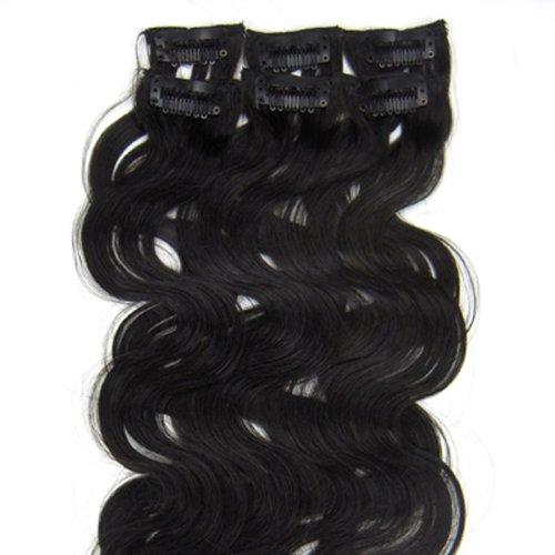 100% cheveux remy Lot de 6 50,8 cm naturel noir (# 1B) vague cheveux clip dans Extension de cheveux humains Poids : 36 G