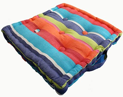 Homescapes - Multi coloured Stripe - Floor Cushion - Extra Large - 100% Cotton - 50 x 50 x 10 cm Square - Indoor - Outdoor - Arm Chair Booster Garden Seat Cushion Pad