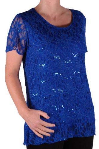 EyeCatch Plus - T Shirt manches courtes en dentelle oversize - Marla - Femme - Plusieurs Tailles et Couleurs Bleu Royal