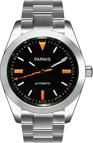 PARNIS 2095 sportliche 39mm Herren-Automatikuhr Markenuhrwerk Saphirglas 316L Edelstahl-Gehäuse und Armband 5 Bar wasserdicht