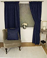 "Jacquard Floral Damask Navy Blue 46x48"" 117x122cm Lined Pencil Pleat Curtains Drapes by Curtains"