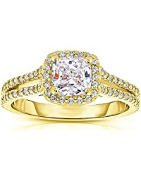 Silvernshine 1.37 Cttw White CushionCZ Diamond 14k Yellow Gold Over Wedding Ring