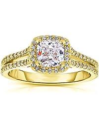 Silvernshine 1.37 Cttw White CushionCZ Diamond 14k Yellow Gold Over Wedding Ring