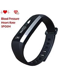 homestec S2presión arterial reloj inteligente Fitness Tracker pulsera con spo2h BP Monitor de frecuencia cardiaca dormir gestión podómetro reloj inteligente con OLED Pantalla táctil para Android IOS Smartphones
