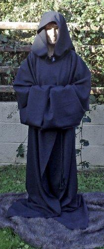 Schwarze Kutte Baumwoll-Drillich für Erwachsene, heidnischer Stil / Jedi / Zauberer / Rollenspiele (Authentische Robe Jedi Erwachsene)