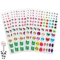 Borte 5 Sheets Self-adhesive Rhinestone Stickers, Assorted Colors Bling Craft Jewels Stick-on Crystal Gem Sheets, Flatback Rhinestone for DIY Crafts Decoration