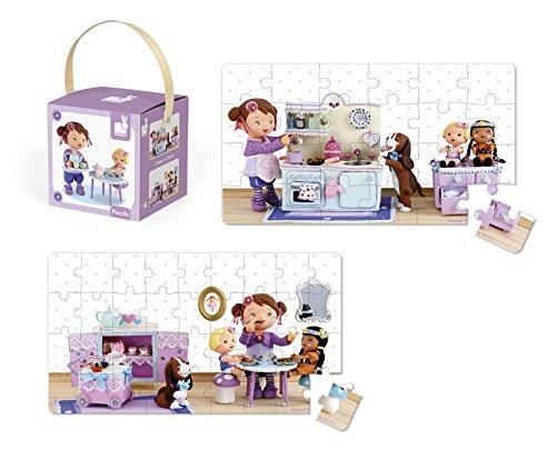 Janod Lola juega con su cocinita de juguete, 2 puzzles encantadores, 26/34 piezas (Juratoys J02769)