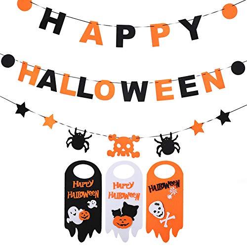 AimodonR Halloween Party Pull Flagge+Tür hängen, Süße Spaß Party Dekoration, All-in-One-Pack für Kinder Thema Party, 4 Stück, Halloween Partyzubehör