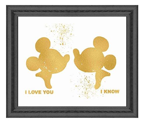 Inspiriert von Mickey und Minnie Maus Liebe und Freundschaft-Poster Druck Foto Qualität-Made in USA-Disney inspiriert-Home Art Print-Rahmen nicht im Lieferumfang enthalten 8x10 gold (Fotos Mickey Maus Von)