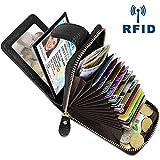Porte Carte de Crédit Cuir RFID Porte Monnaie et Cartes avec 14 Fentes pour Cartes et 4 Fentes de Photo, Porte-Carte de Visite Petit Portefeuille Porte Cartes en Cuir pour Femmes Hommes (Noir)