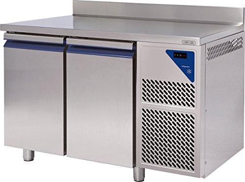 Gastlando - Premium Gastro Tiefkühltisch Edelstahl - 2 Türen - mit Aufkantung - 230 Liter - 18° bis -22 °C